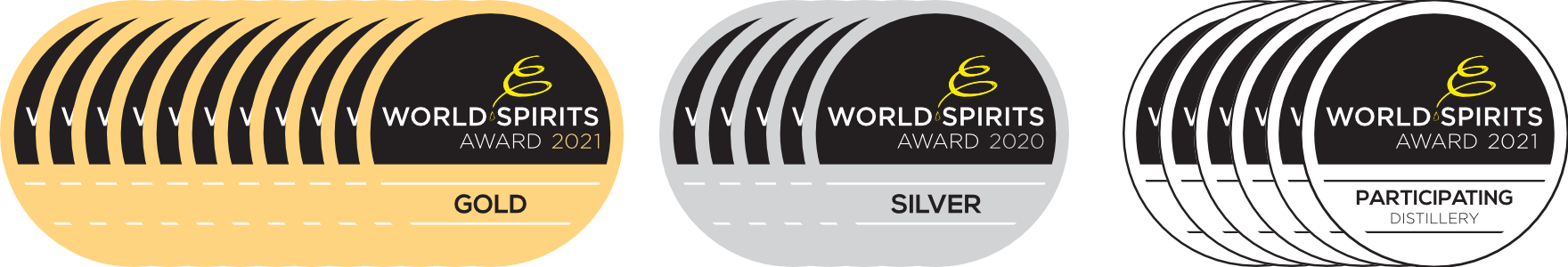 15 Medaillen des World Spirits Award.